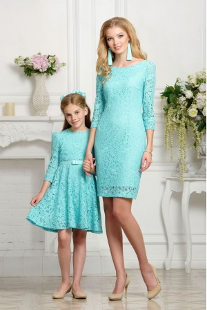 Mommy & daughter matching outfits Aqua Lace 3/4 sleeves mother daughter dress